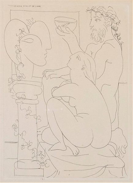 Pablo Picasso Sculteur avec couple et modele accroupì
